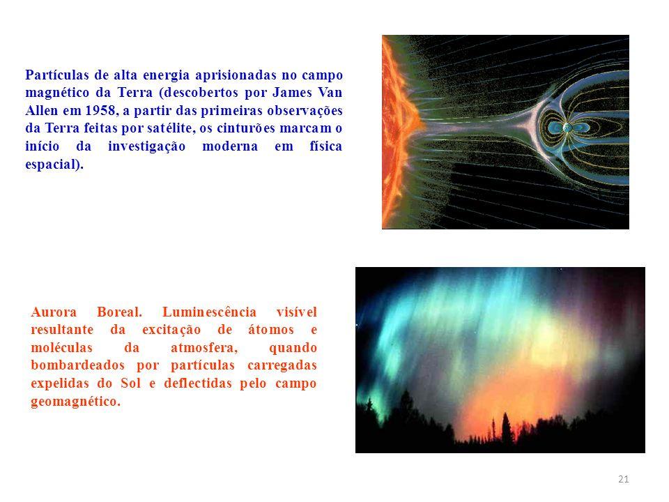 21 Aurora Boreal. Luminescência visível resultante da excitação de átomos e moléculas da atmosfera, quando bombardeados por partículas carregadas expe