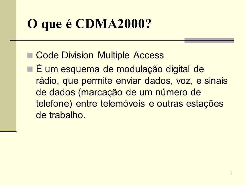 24 O canal de tráfego do CDMA2000 pode incluir vários canais físicos: O F-FCH (Fundamental Channel) suporta dados, voz, ou sinais multiplexados com uma velocidade de transmissão de 750 bps a 14.4 kbps.
