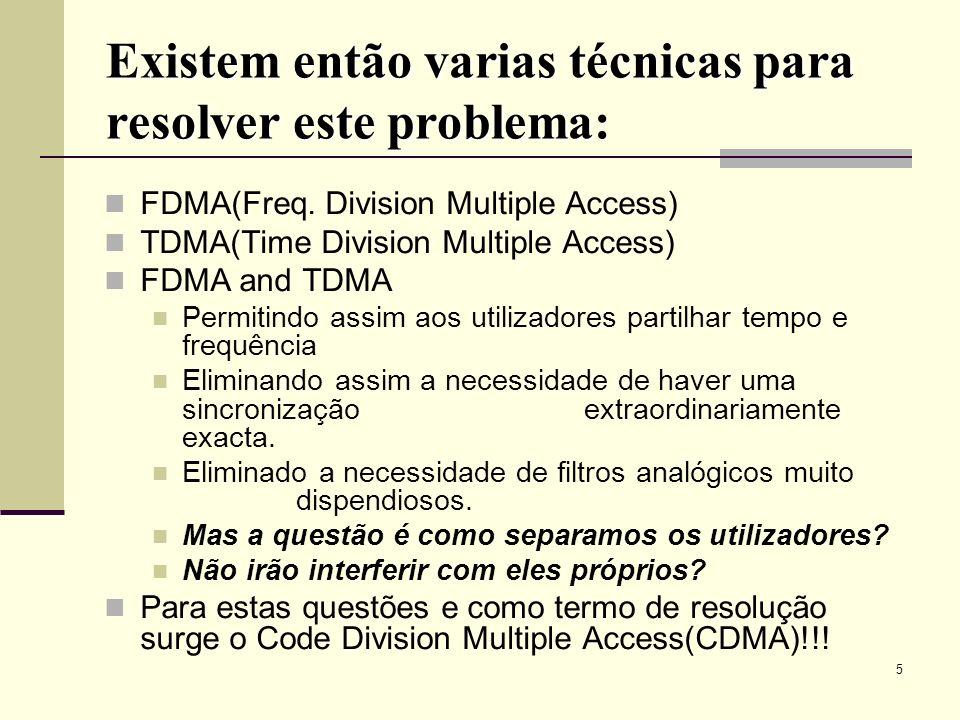 16 CDMA2000 3X Utiliza um par de canais de 3.75 MHz (i.e., 3 X 1.25 MHz) atingindo assim maiores taxas de transferencia de dados.