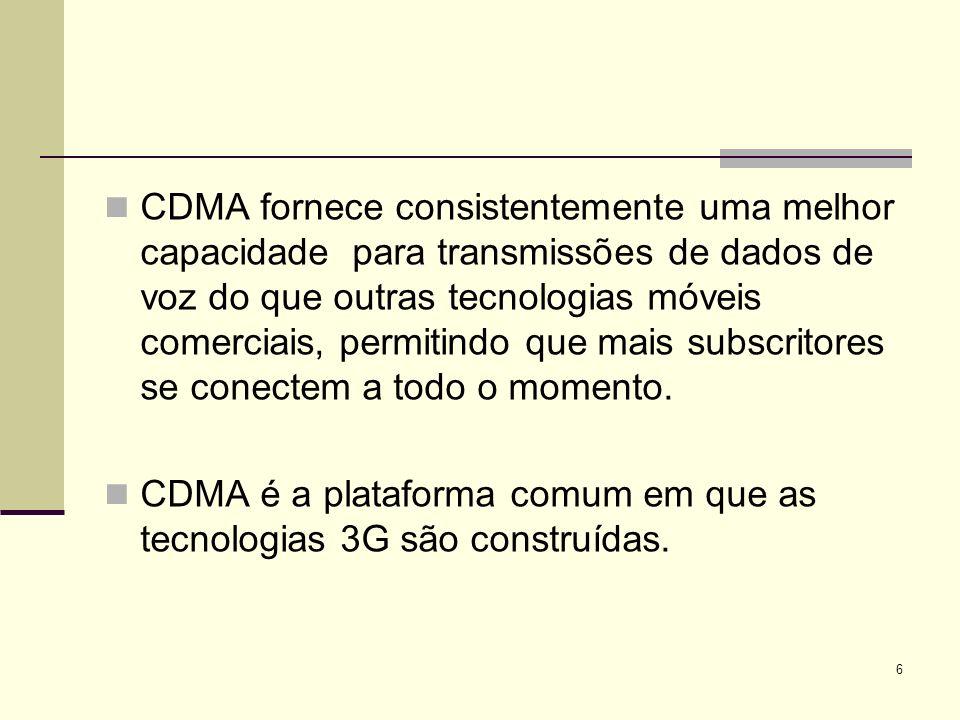 27 CDMA2000 pode ser representado em qualquer espectro de frequências; A rede CDMA2000 já foi implementada em bandas de 450 MHz, 800 MHz, 1700 MHz, e 1900 MHz ; CDMA2000 pode também ser implementado em frequências de 900 MHz, 1800 MHz e 2100 MHz; A boa eficiência de espectro do CDMA2000 permite boas distribuições em qualquer espectro do canal com 1.25MHz.