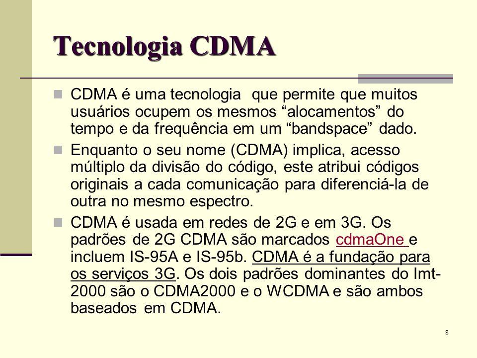 9 CDMA - Comparação Tipos de acesso ao meio: