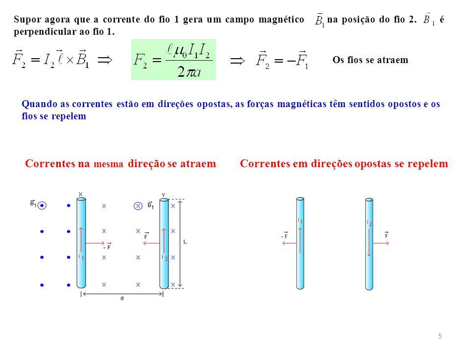 5 Supor agora que a corrente do fio 1 gera um campo magnético na posição do fio 2. é perpendicular ao fio 1. Os fios se atraem Correntes em direções o