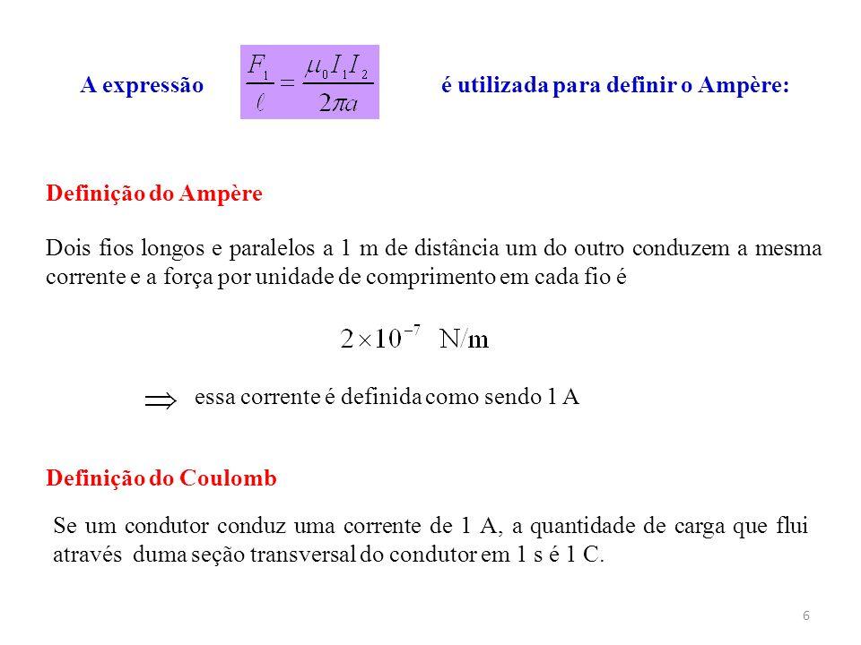 6 A expressão é utilizada para definir o Ampère: Definição do Coulomb Dois fios longos e paralelos a 1 m de distância um do outro conduzem a mesma cor
