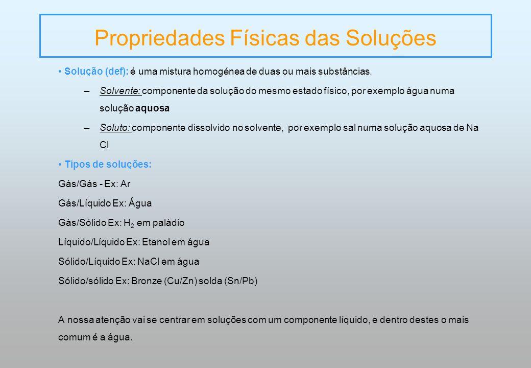 Propriedades Físicas das Soluções Solução (def): é uma mistura homogénea de duas ou mais substâncias. –Solvente: componente da solução do mesmo estado