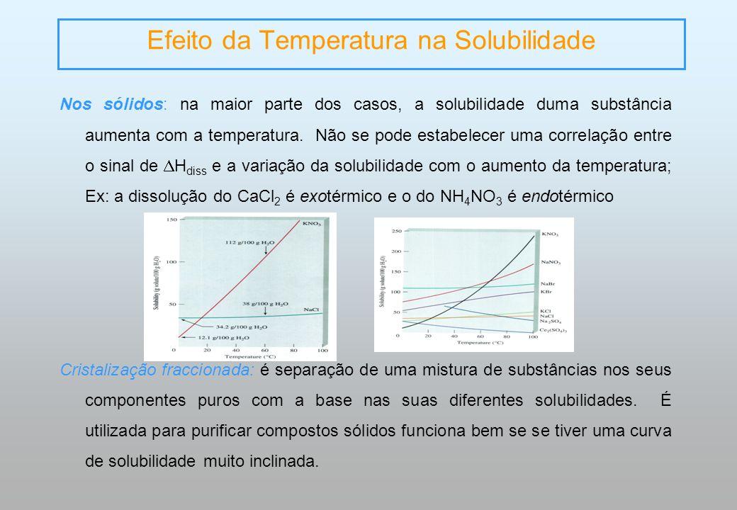 Efeito da Temperatura na Solubilidade Nos sólidos: na maior parte dos casos, a solubilidade duma substância aumenta com a temperatura. Não se pode est