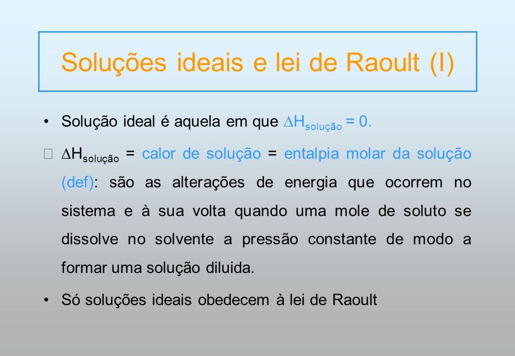 Soluções ideais e lei de Raoult (I) Solução ideal é aquela em que H solução = 0. H solução = calor de solução = entalpia molar da solução (def): são a
