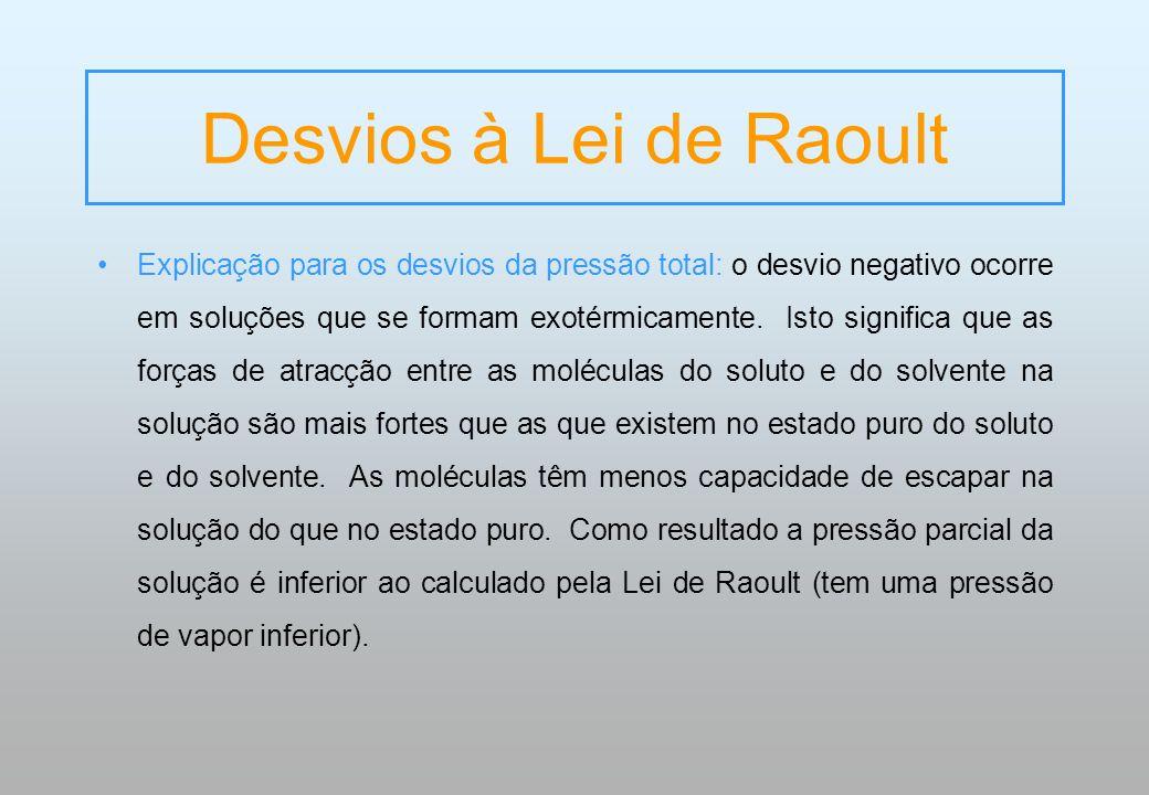 Desvios à Lei de Raoult Explicação para os desvios da pressão total: o desvio negativo ocorre em soluções que se formam exotérmicamente. Isto signific
