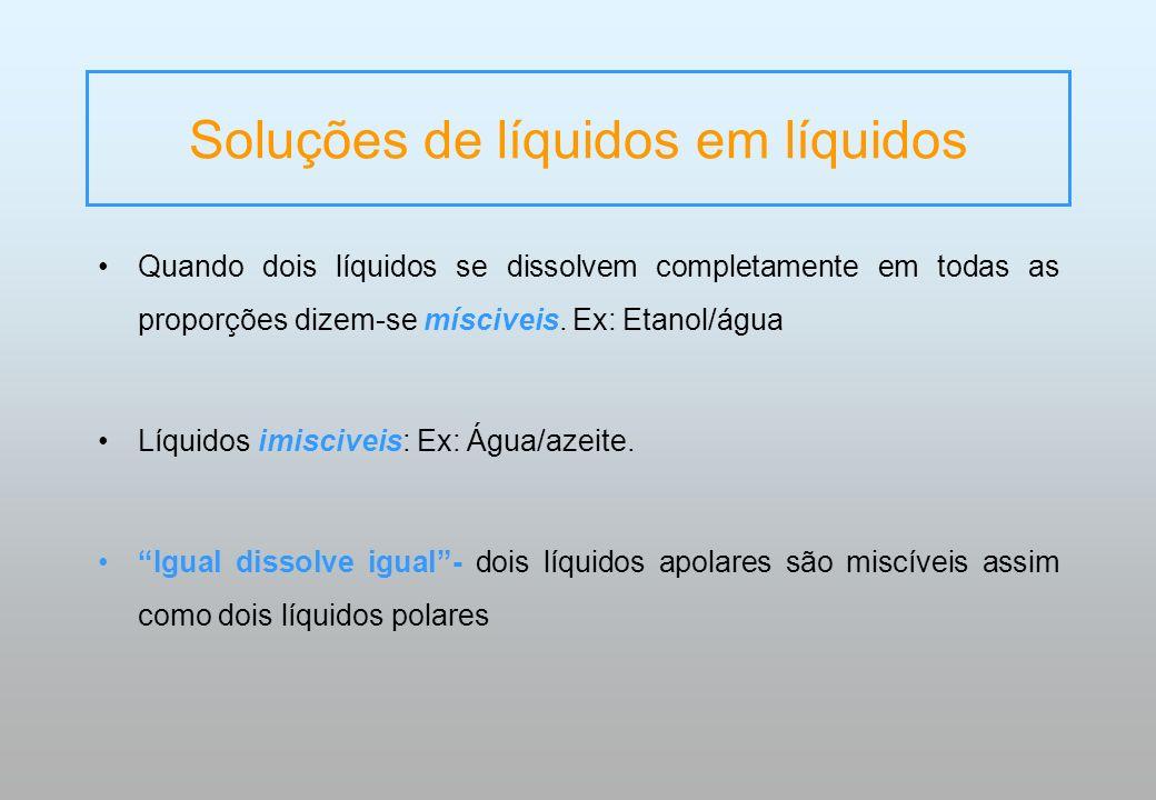 Soluções de líquidos em líquidos Quando dois líquidos se dissolvem completamente em todas as proporções dizem-se mísciveis. Ex: Etanol/água Líquidos i