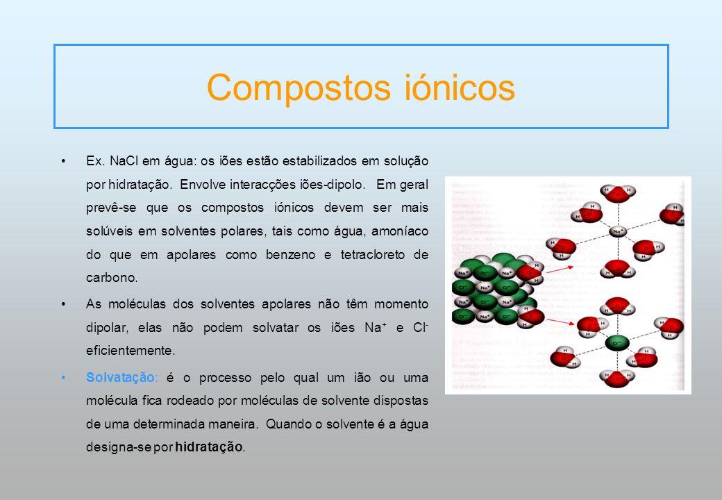 Compostos iónicos Ex. NaCl em água: os iões estão estabilizados em solução por hidratação. Envolve interacções iões-dipolo. Em geral prevê-se que os c