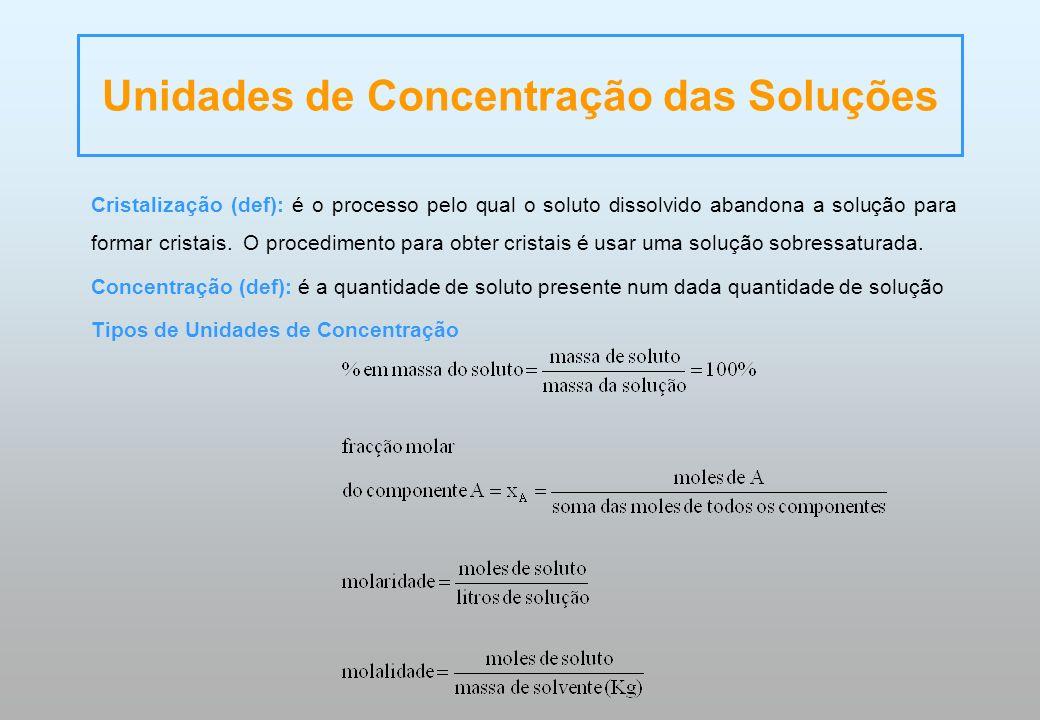 Unidades de Concentração das Soluções Cristalização (def): é o processo pelo qual o soluto dissolvido abandona a solução para formar cristais. O proce