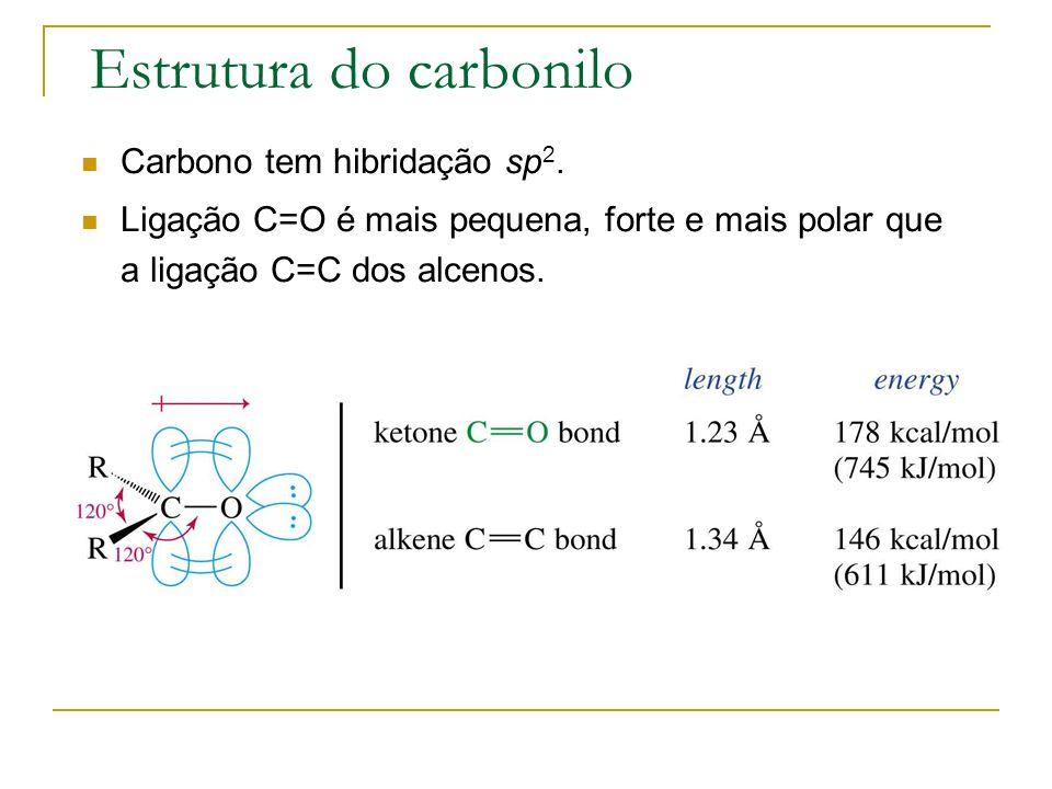 Estrutura do carbonilo Carbono tem hibridação sp 2. Ligação C=O é mais pequena, forte e mais polar que a ligação C=C dos alcenos.