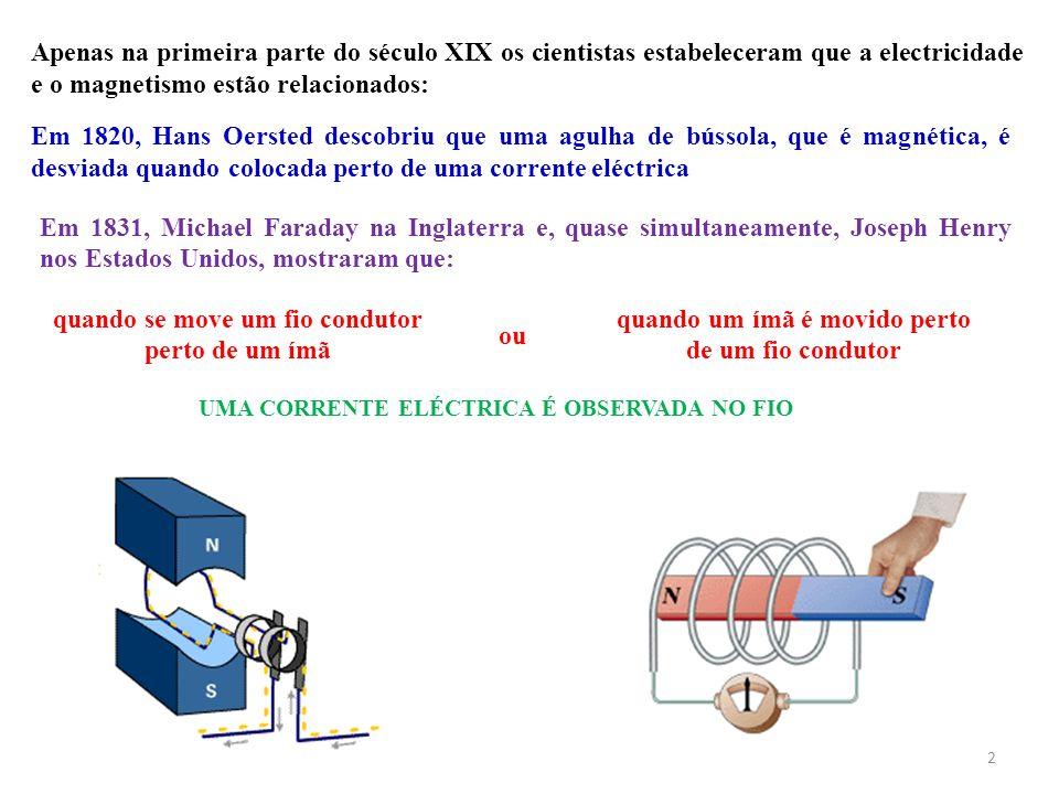 2 Apenas na primeira parte do século XIX os cientistas estabeleceram que a electricidade e o magnetismo estão relacionados: Em 1820, Hans Oersted desc