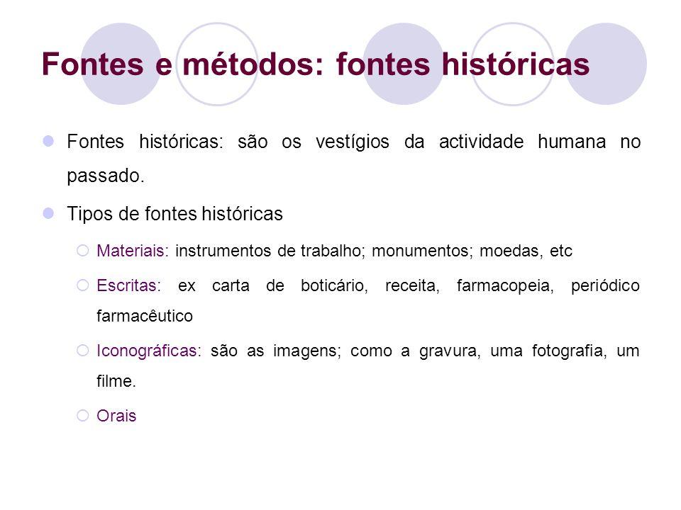 Fontes e métodos: fontes históricas Fontes históricas: são os vestígios da actividade humana no passado. Tipos de fontes históricas Materiais: instrum