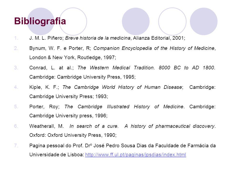 Bibliografia 1.J. M. L. Piñero; Breve historia de la medicina, Alianza Editorial, 2001; 2.Bynum, W. F. e Porter, R; Companion Encyclopedia of the Hist