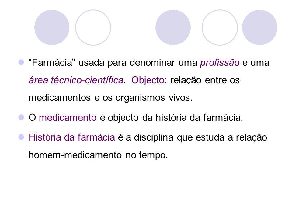 Farmácia usada para denominar uma profissão e uma área técnico-científica. Objecto: relação entre os medicamentos e os organismos vivos. O medicamento