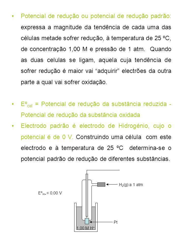 Potencial de redução ou potencial de redução padrão: expressa a magnitude da tendência de cada uma das células metade sofrer redução, à temperatura de