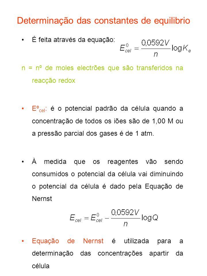 Determinação das constantes de equilibrio É feita através da equação: n = nº de moles electrões que são transferidos na reacção redox Eº cel : é o pot
