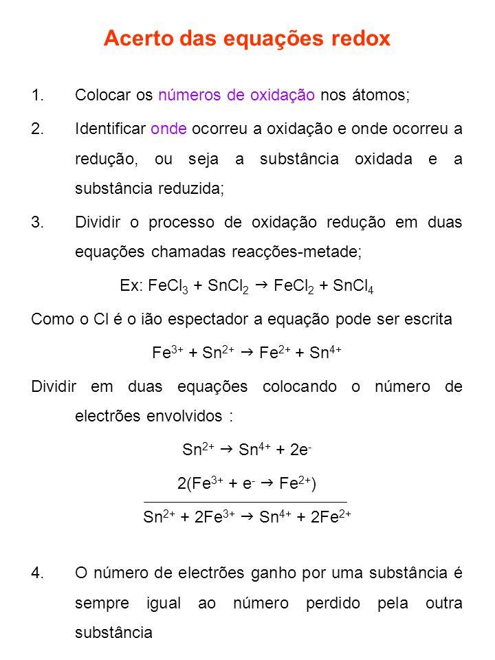 Acerto das equações redox 1.Colocar os números de oxidação nos átomos; 2.Identificar onde ocorreu a oxidação e onde ocorreu a redução, ou seja a subst