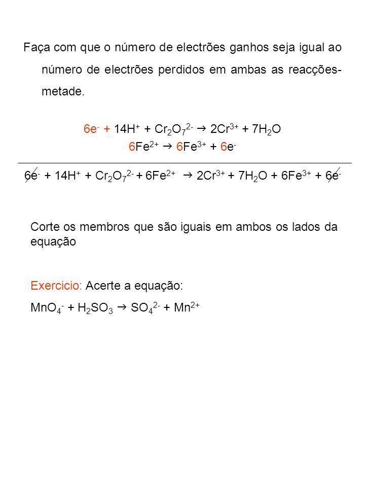 5.Acerto das equações em meio básico: Cr 2 O 7 2- + Fe 2+ Cr 3+ + Fe 3+ Cr 2 O 7 2- 2Cr 3+ Fe 2+ Fe 3+ + e - (Acertar os átomos que não são H nem O) Cr 2 O 7 2- 2Cr 3+ + 7H 2 O Fe 2+ Fe 3+ + e - (Acertar os oxigénios adicionando H 2 O ao lado que precisa de O) 14H + + Cr 2 O 7 2- 2Cr 3+ + 7H 2 O Fe 2+ Fe 3+ + e - (Acertar os hidrogénios adicionando H + ao lado que precisa de H) 14OH - + 14H + + Cr 2 O 7 2- 2Cr 3+ + 7H 2 O + 14OH - Fe 2+ Fe 3+ (Adicione a ambos os lados da equação o mesmo número de OH - do que H + )