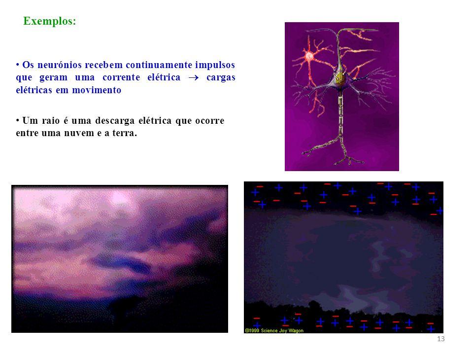 13 Exemplos: Os neurónios recebem continuamente impulsos que geram uma corrente elétrica cargas elétricas em movimento Um raio é uma descarga elétrica