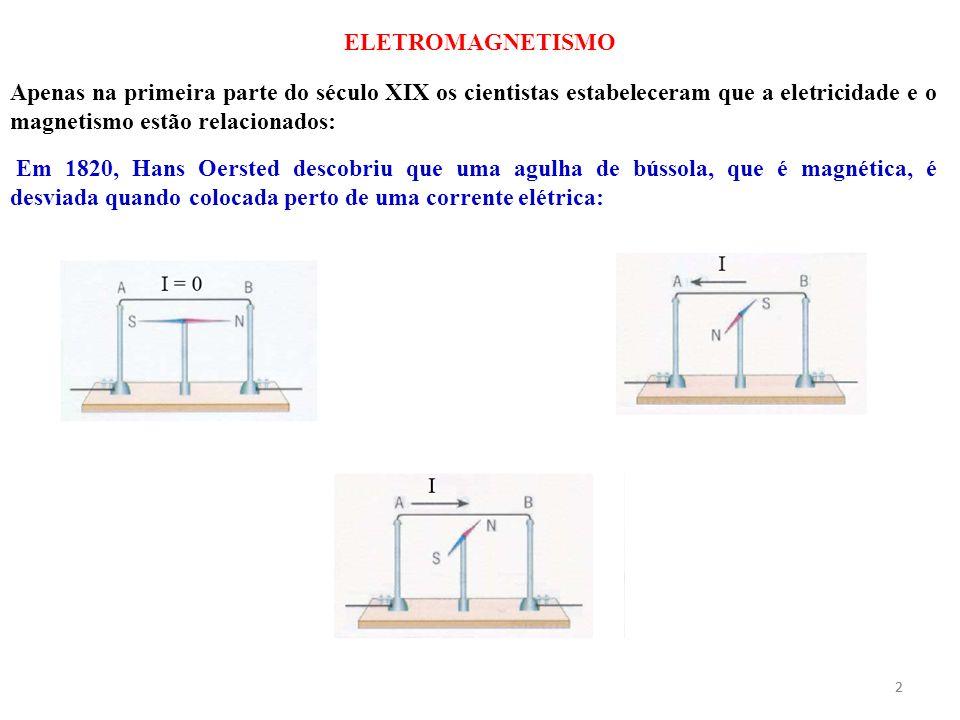 2 Apenas na primeira parte do século XIX os cientistas estabeleceram que a eletricidade e o magnetismo estão relacionados: Em 1820, Hans Oersted desco