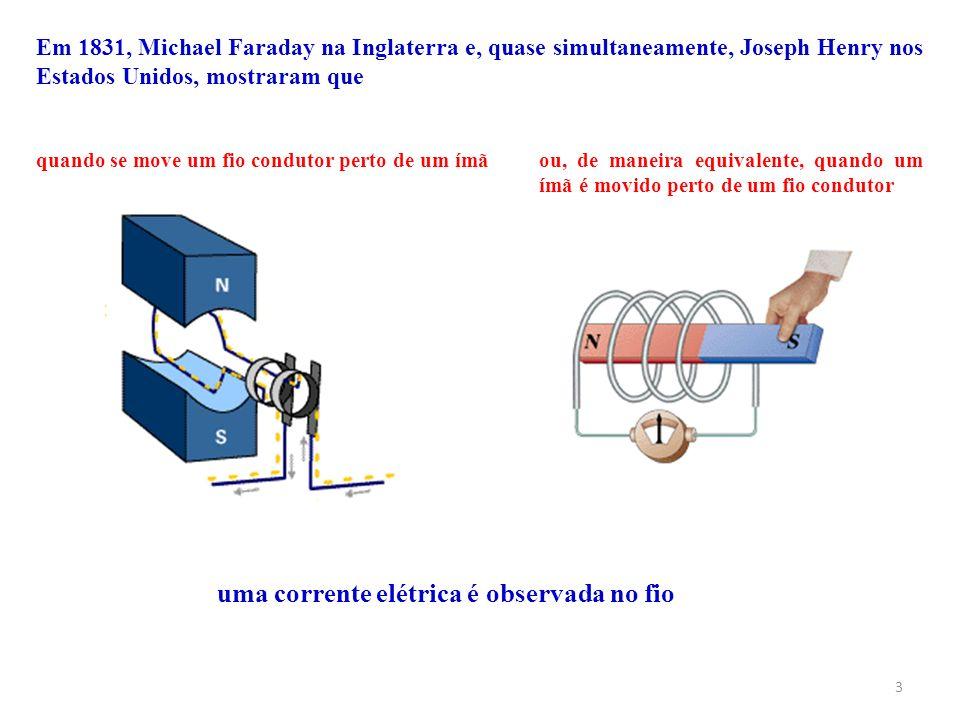 3 Em 1831, Michael Faraday na Inglaterra e, quase simultaneamente, Joseph Henry nos Estados Unidos, mostraram que quando se move um fio condutor perto