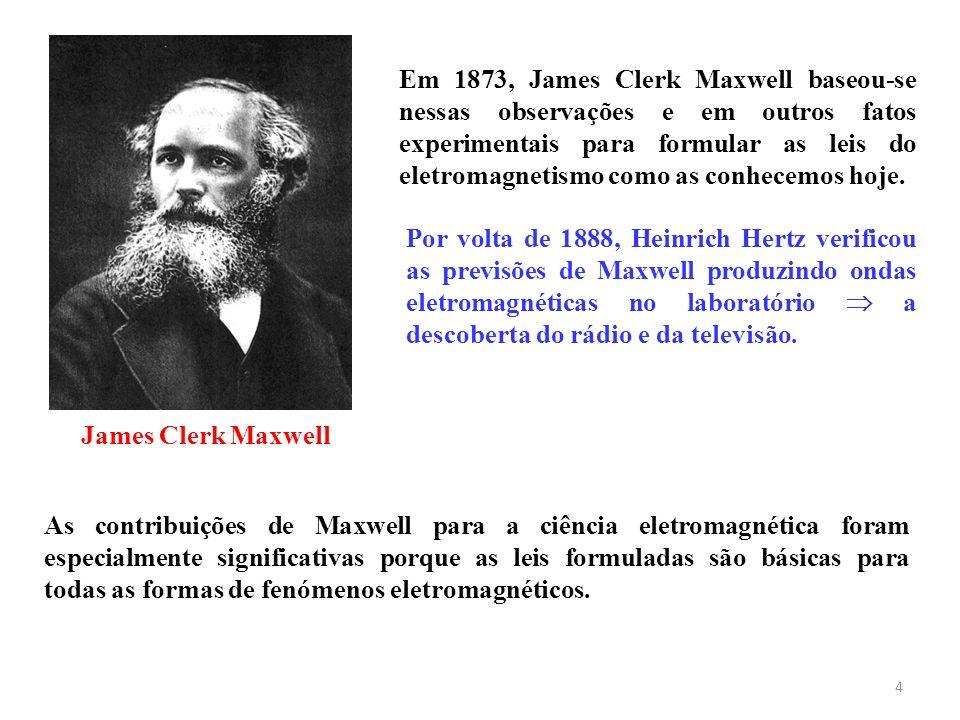 4 Por volta de 1888, Heinrich Hertz verificou as previsões de Maxwell produzindo ondas eletromagnéticas no laboratório a descoberta do rádio e da tele