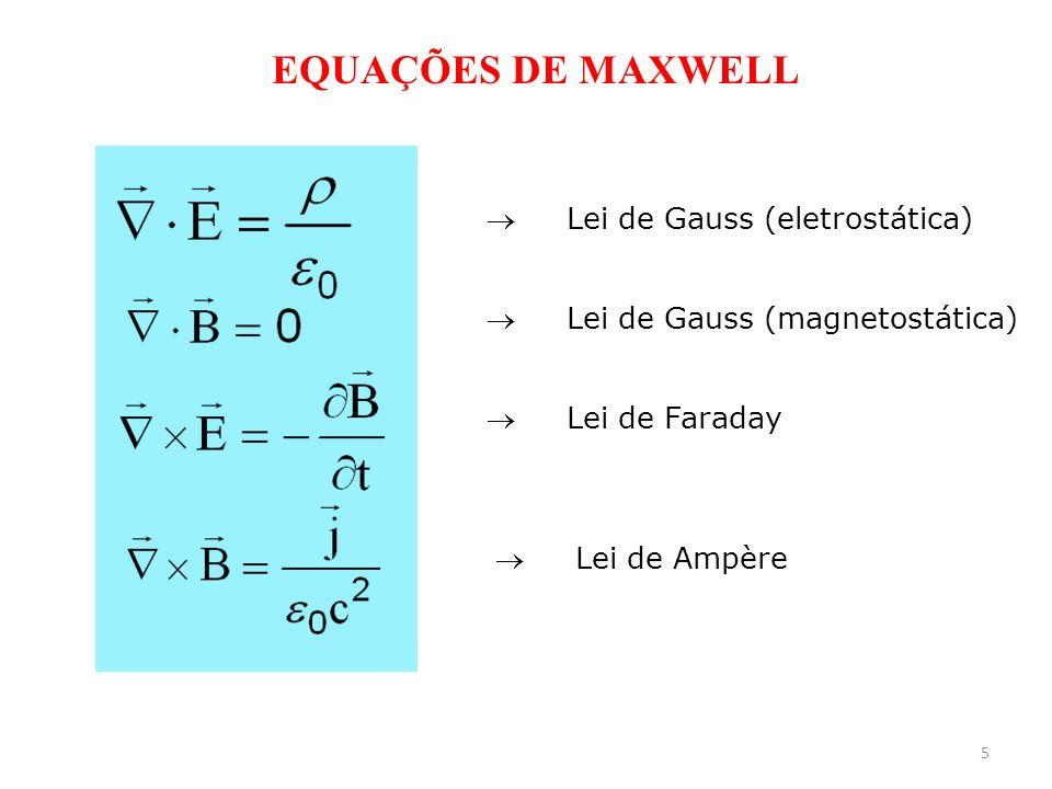 5 EQUAÇÕES DE MAXWELL Lei de Gauss (eletrostática) Lei de Gauss (magnetostática) Lei de Faraday Lei de Ampère