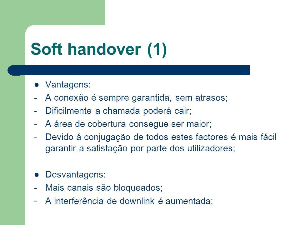 Soft handover (1) Vantagens: -A conexão é sempre garantida, sem atrasos; -Dificilmente a chamada poderá cair; -A área de cobertura consegue ser maior;