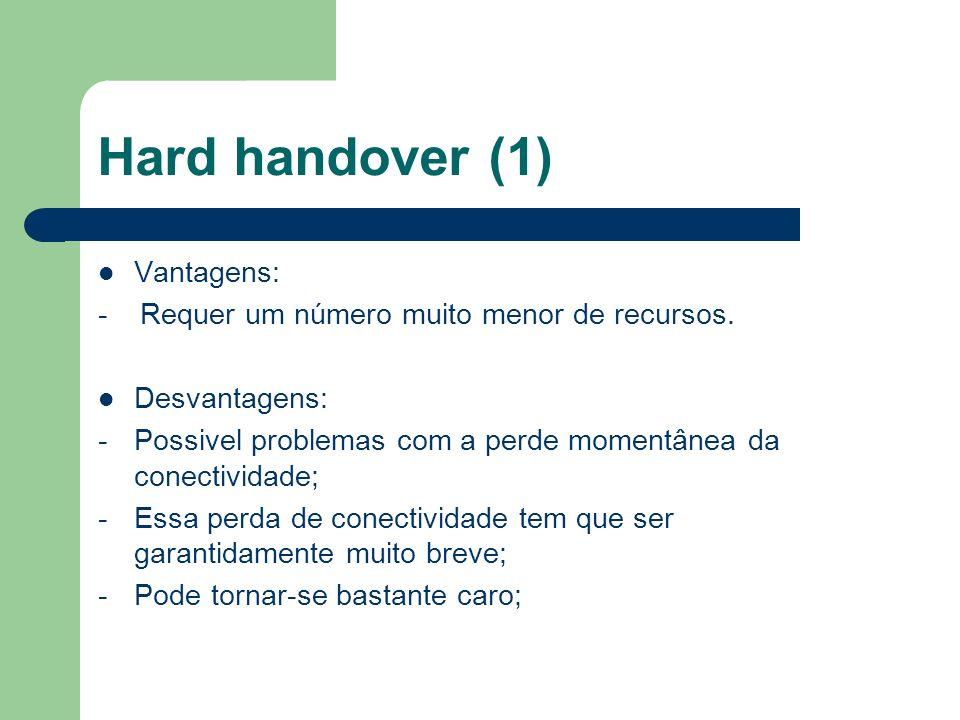 Hard handover (1) Vantagens: - Requer um número muito menor de recursos. Desvantagens: -Possivel problemas com a perde momentânea da conectividade; -E