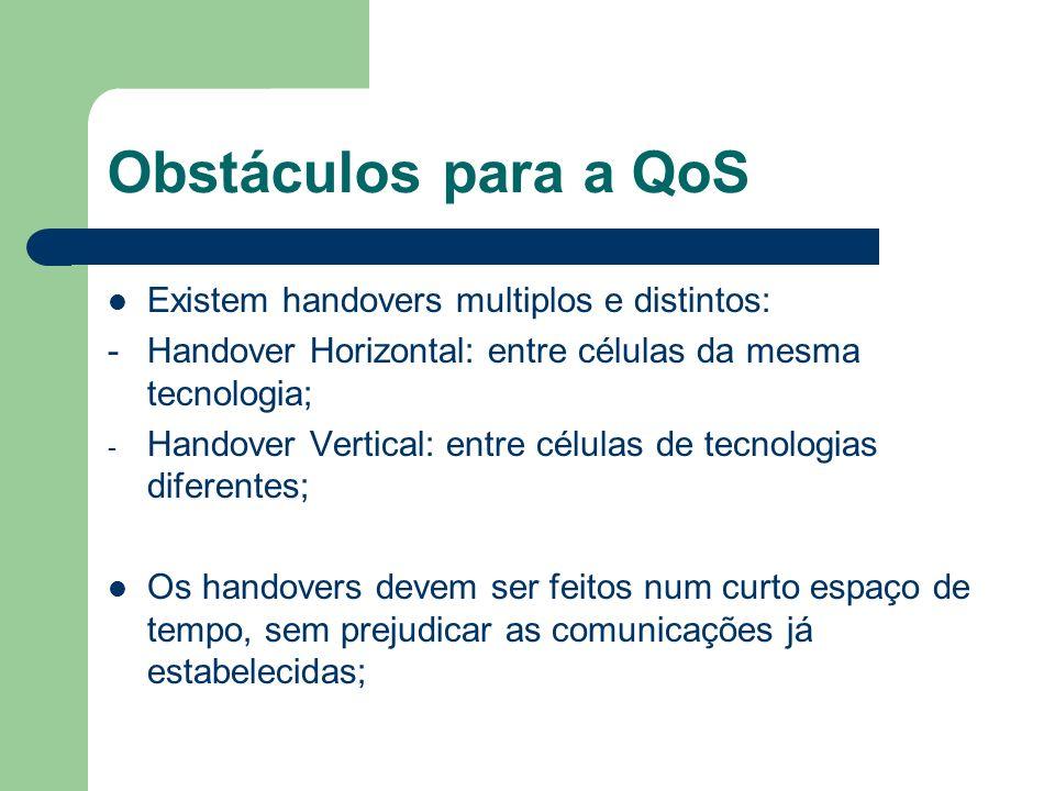 Obstáculos para a QoS Existem handovers multiplos e distintos: -Handover Horizontal: entre células da mesma tecnologia; - Handover Vertical: entre cél