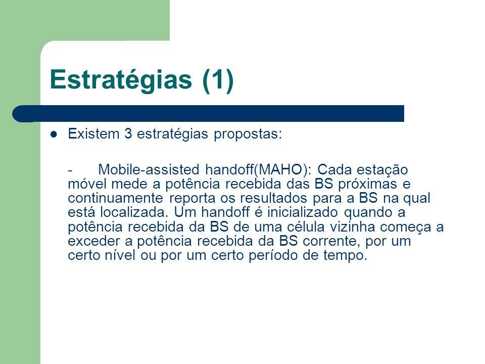 Estratégias (1) Existem 3 estratégias propostas: -Mobile-assisted handoff(MAHO): Cada estação móvel mede a potência recebida das BS próximas e continu