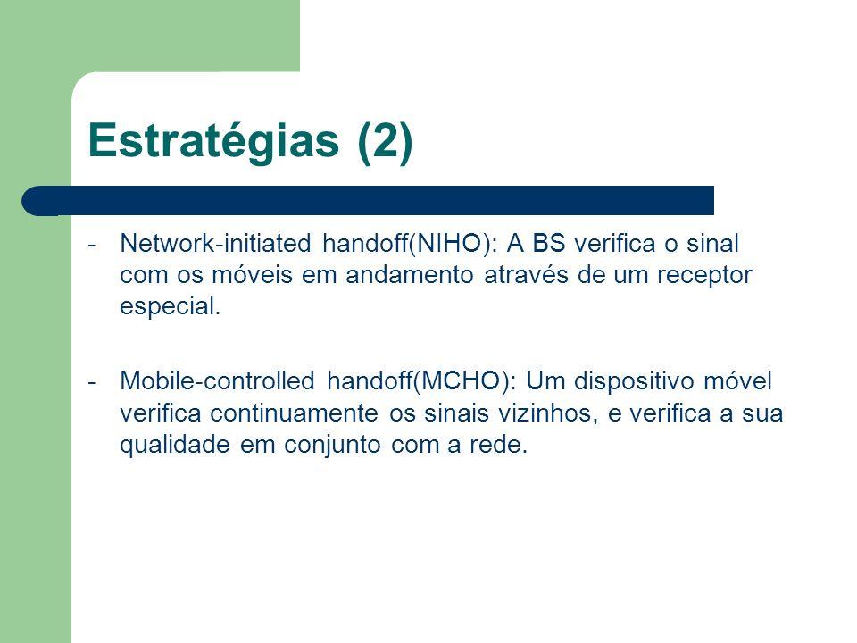 Estratégias (2) -Network-initiated handoff(NIHO): A BS verifica o sinal com os móveis em andamento através de um receptor especial. -Mobile-controlled
