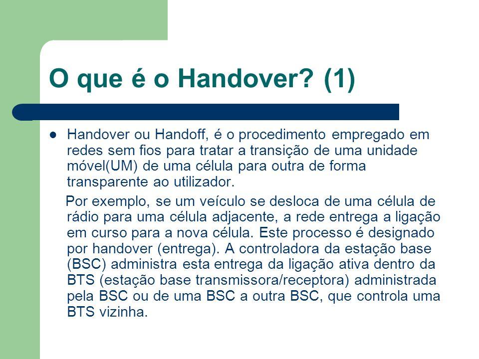 Tipos de Handover Existem dois grandes tipos de handover: - Soft handover: é criada uma conexão com a nova BTS antes de ser quebrada a antiga.
