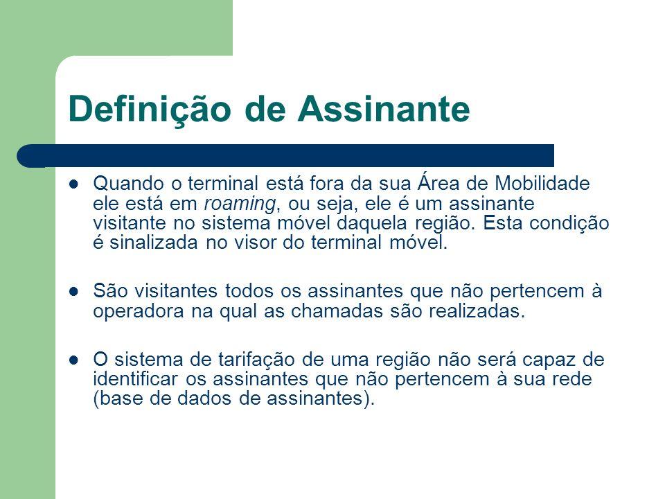 Definição de Assinante Quando o terminal está fora da sua Área de Mobilidade ele está em roaming, ou seja, ele é um assinante visitante no sistema móv