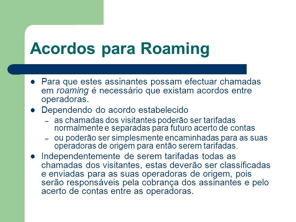 Acordos para Roaming Para que estes assinantes possam efectuar chamadas em roaming é necessário que existam acordos entre operadoras. Dependendo do ac