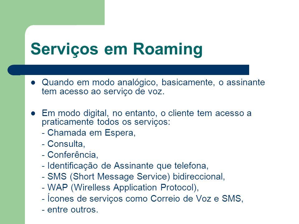 Serviços em Roaming Quando em modo analógico, basicamente, o assinante tem acesso ao serviço de voz. Em modo digital, no entanto, o cliente tem acesso