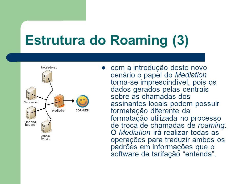 Estrutura do Roaming (3) com a introdução deste novo cenário o papel do Mediation torna-se imprescindível, pois os dados gerados pelas centrais sobre