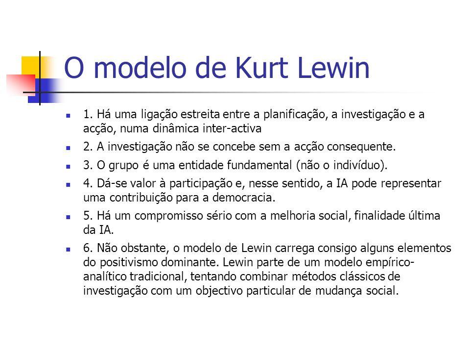 O modelo de Kurt Lewin 1. Há uma ligação estreita entre a planificação, a investigação e a acção, numa dinâmica inter-activa 2. A investigação não se