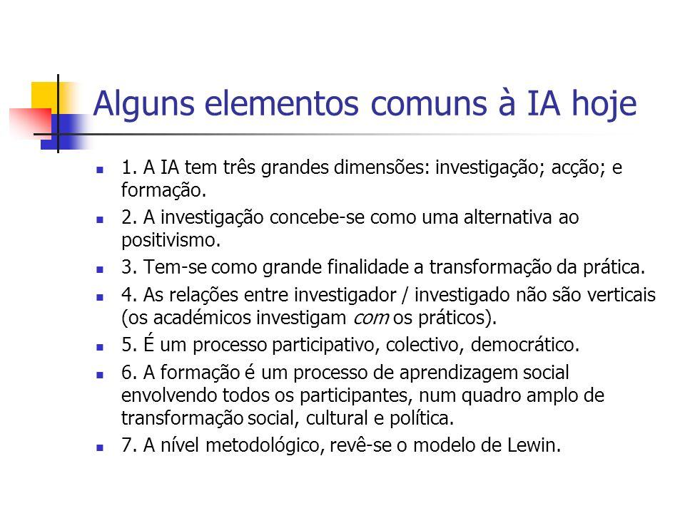 Alguns elementos comuns à IA hoje 1. A IA tem três grandes dimensões: investigação; acção; e formação. 2. A investigação concebe-se como uma alternati