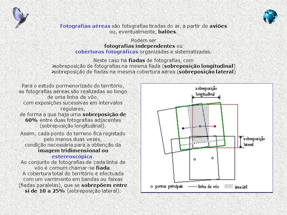 Características relevantes das fotografias aéreas tipo de emulsão fotográfica preto e branco (P&B ou B&W) película a preto e branco, com espectro semelhante ao da visão humana tem bom contraste, permite boa resolução e amplo leque de exposição preto e branco infra-vermelho (BIR) película a preto e branco, para espectro entre 0,4 e 0,9 micron colorido natural película com três camadas de emulsão (vermelho, verde e azul), correspondentes às três cores primárias (RGB) do espectro visível; reproduz as imagens de forma muito semelhante à da visão humana, com todos os gradientes de tom das cores, muito úteis para a foto-leitura infra-vermelho próximo (Iv próx ou CIR) ou falsa-cor película inicialmente designada como de anti-camuflagem, pelo seu uso militar três camadas de emulsão, para o verde, vermelho e infra-vermelho próximo (0,5 a 0,9 micron) por vezes são utilizados filtros durante a aquisição das imagens, como os amarelos para absorver o azul, aumentando a nitidez e contraste, e permitindo ver através da neblina ou nevoeiro e em altitude fotografias verticais, oblíquas e panorâmicas verticais, quando o eixo óptico da câmara é perpendicular à superfície da Terra (são admitidos desvios até 10º) oblíquas, quando o ângulo formado é superior a 10º panorâmica, se o ângulo é tal que se chega a ver a linha de horizonte