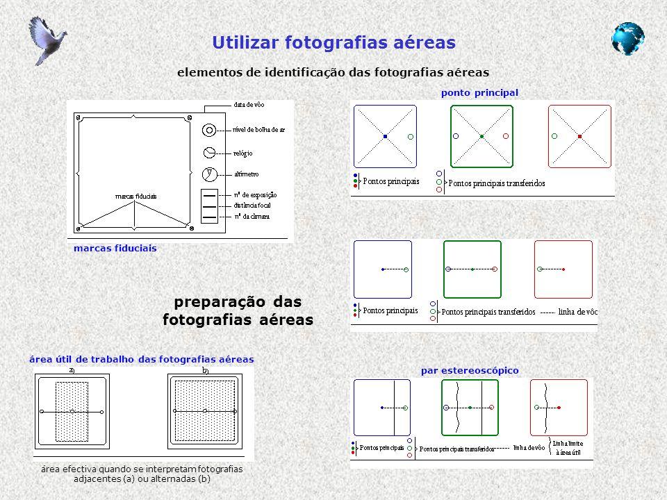 Utilizar fotografias aéreas elementos de identificação das fotografias aéreas marcas fiduciais ponto principal par estereoscópico área útil de trabalh