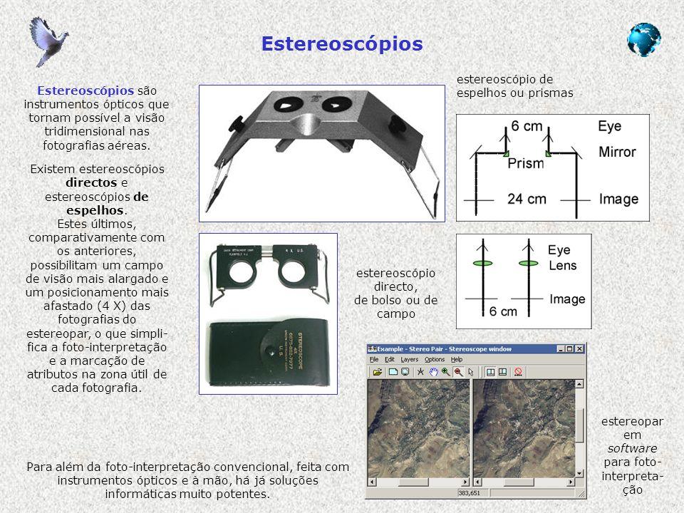 Estereoscópios estereoscópio directo, de bolso ou de campo estereoscópio de espelhos ou prismas estereopar em software para foto- interpreta- ção Este
