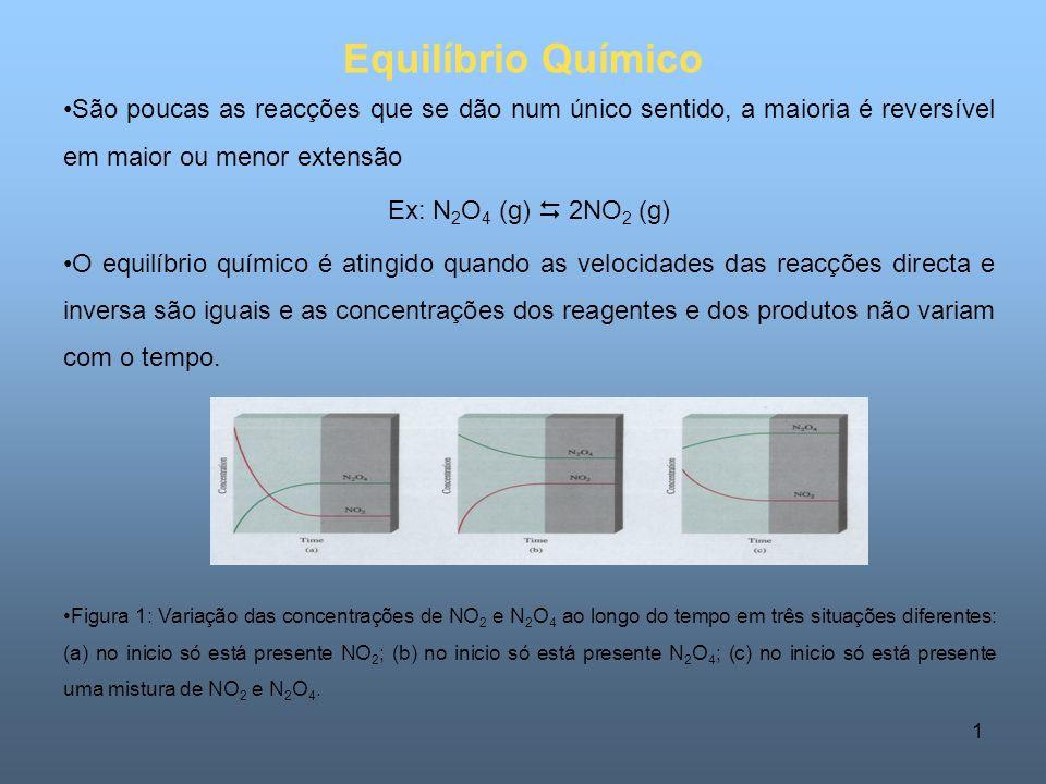1 Equilíbrio Químico São poucas as reacções que se dão num único sentido, a maioria é reversível em maior ou menor extensão Ex: N 2 O 4 (g) 2NO 2 (g) O equilíbrio químico é atingido quando as velocidades das reacções directa e inversa são iguais e as concentrações dos reagentes e dos produtos não variam com o tempo.