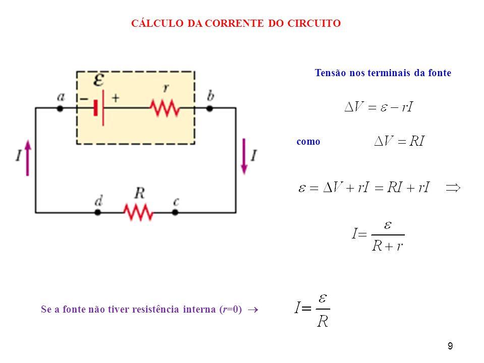 9 CÁLCULO DA CORRENTE DO CIRCUITO Tensão nos terminais da fonte como Se a fonte não tiver resistência interna (r=0)