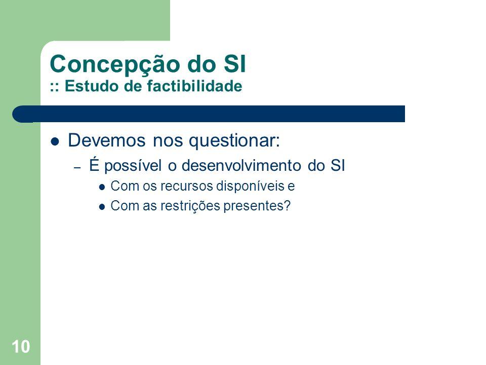 10 Concepção do SI :: Estudo de factibilidade Devemos nos questionar: – É possível o desenvolvimento do SI Com os recursos disponíveis e Com as restrições presentes?