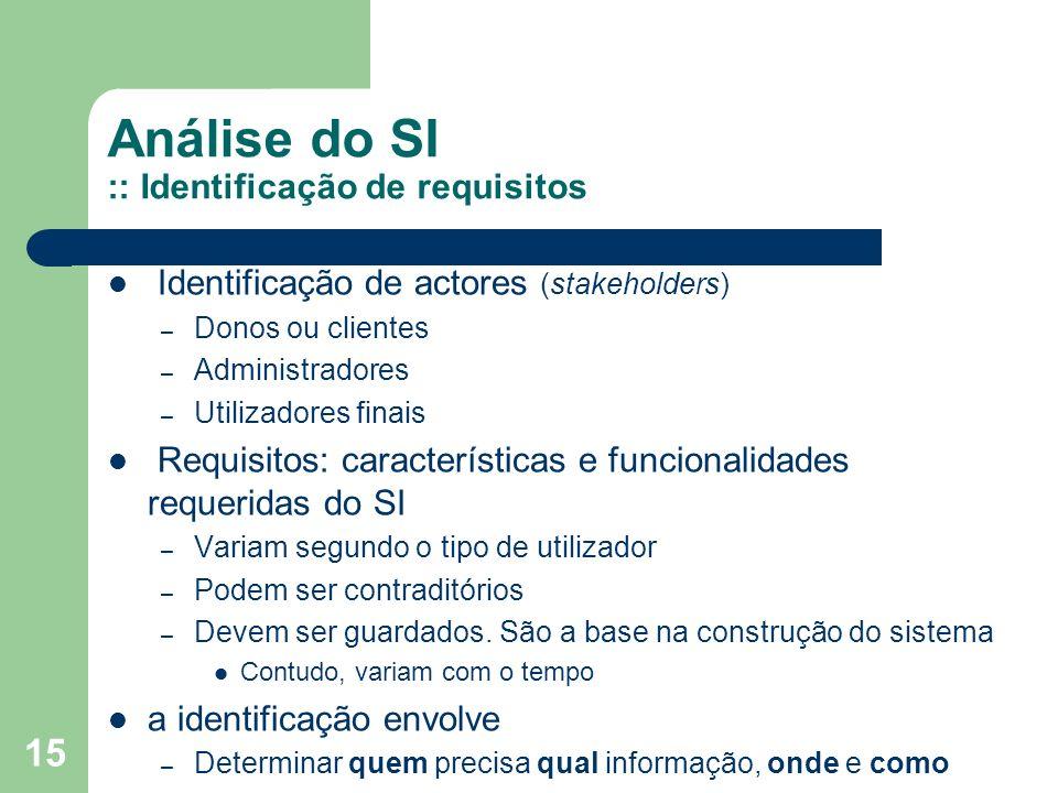 15 Análise do SI :: Identificação de requisitos Identificação de actores (stakeholders) – Donos ou clientes – Administradores – Utilizadores finais Requisitos: características e funcionalidades requeridas do SI – Variam segundo o tipo de utilizador – Podem ser contraditórios – Devem ser guardados.