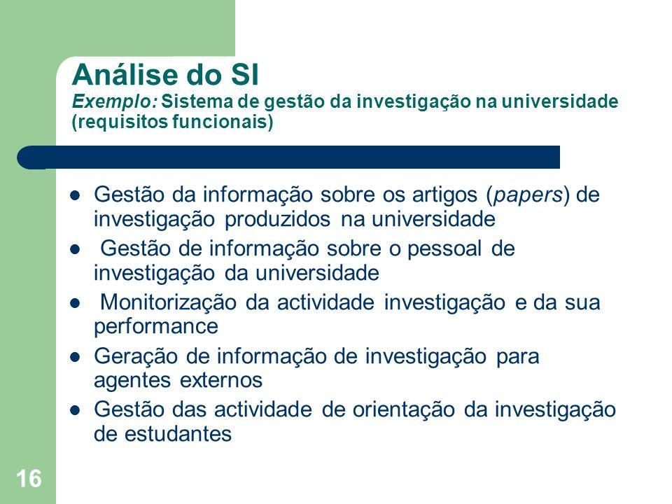 16 Análise do SI Exemplo: Sistema de gestão da investigação na universidade (requisitos funcionais) Gestão da informação sobre os artigos (papers) de