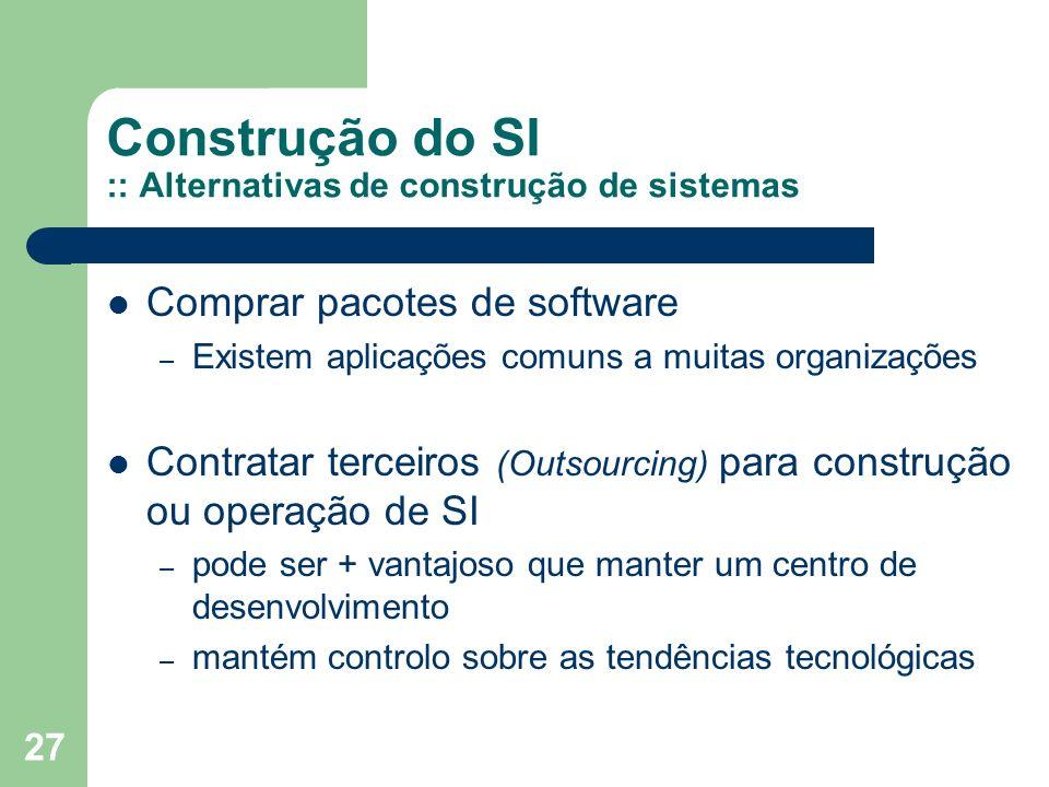 27 Construção do SI :: Alternativas de construção de sistemas Comprar pacotes de software – Existem aplicações comuns a muitas organizações Contratar terceiros (Outsourcing) para construção ou operação de SI – pode ser + vantajoso que manter um centro de desenvolvimento – mantém controlo sobre as tendências tecnológicas