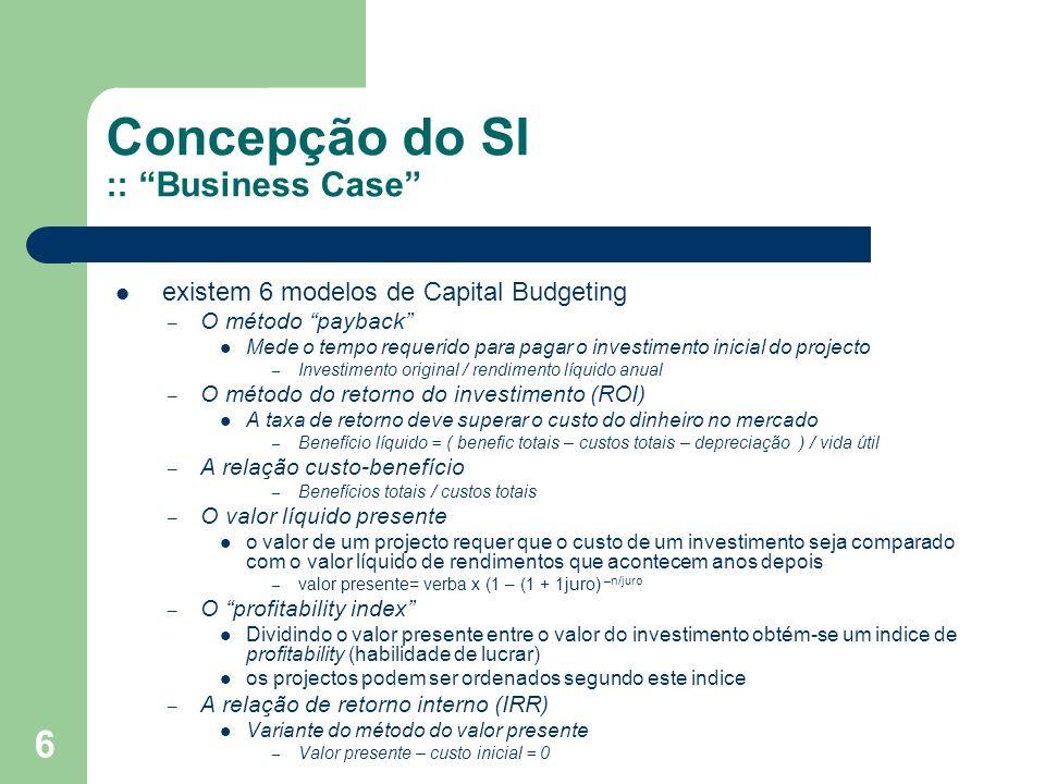 6 Concepção do SI :: Business Case existem 6 modelos de Capital Budgeting – O método payback Mede o tempo requerido para pagar o investimento inicial